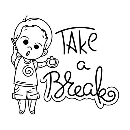Take a Break text with Cute cartoon kid vector illustration Ilustracja