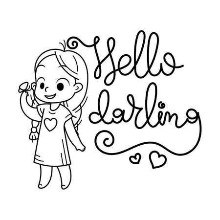 Hello darling. Cute cartoon kids. Vector and illustration.