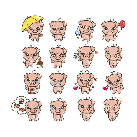 Collection of cutest pig character icon set with different emotions. Vector illustration for new 2019 year. Set of small piggy Vettoriali