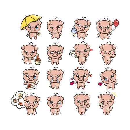 Collezione di icone di carattere maiale più carino con diverse emozioni. Illustrazione vettoriale per il nuovo anno 2019. Set di piccolo porcellino