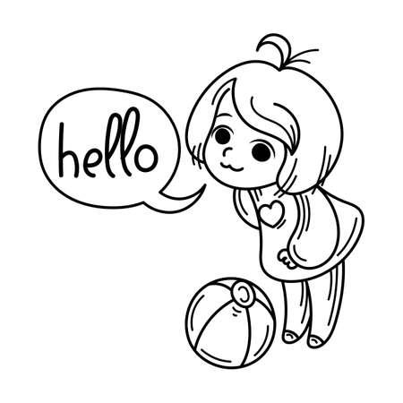 Hello, ball. Cute cartoon kids. Vector and illustration.