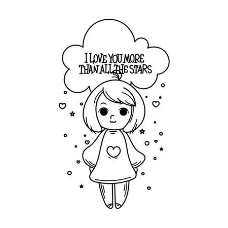 I love you more than all the stars. Cute cartoon kids. Vector and illustration.