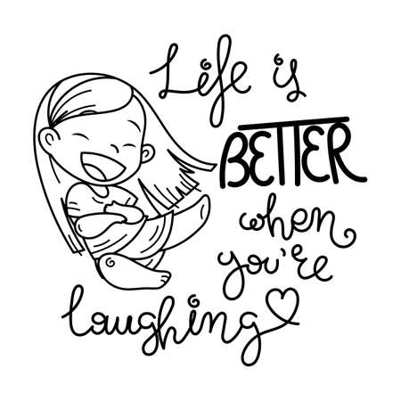 Life is better when you are laughting. Cute cartoon kids. Vector and illustration.  イラスト・ベクター素材