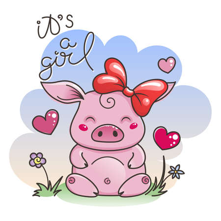 It is a girl. Cute cartoon pig in love. Symbol of New 2019 Year. Chinese horoscope