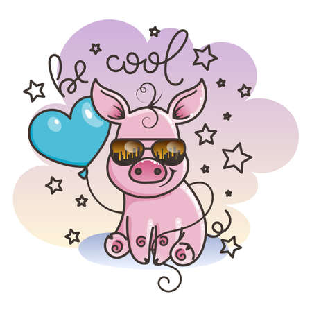 Be cool. Cute cartoon baby pig in a sunglasses with balloon. Vector illustration