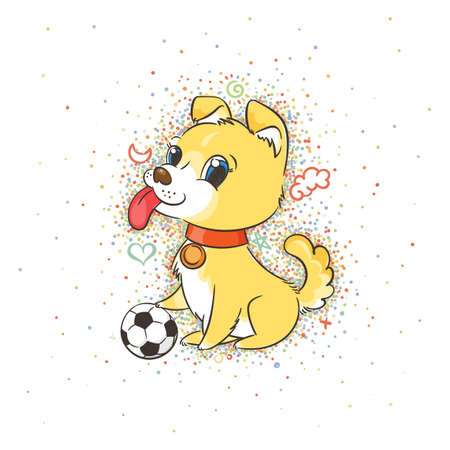 Vector illustration with cute puppy with a soccer ball, card or print concept. Illustration