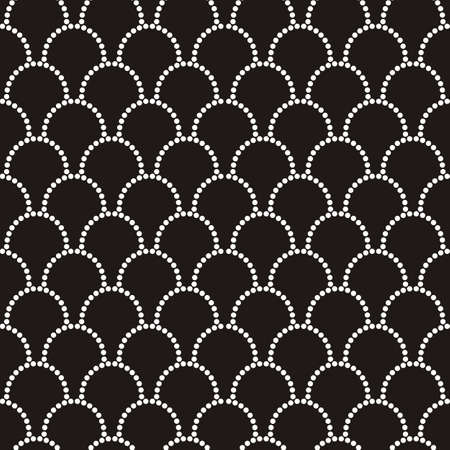 Vector abstract seamless wavy pattern with dotted geometrical fish scale layout. Textile print, page fill, batik, texture