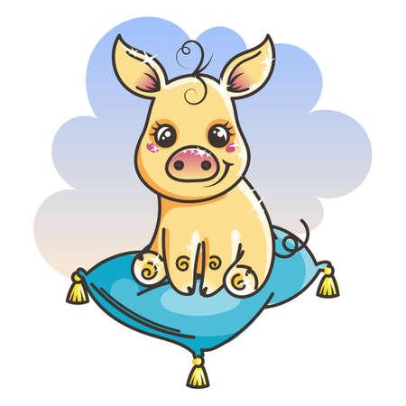 2019 year symbol. Cute cartoon baby golden pig. Vector illustration
