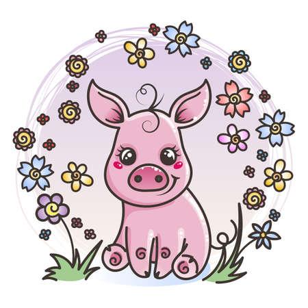 Cute cartoon baby pig on a flower background. Vector illustration Ilustração