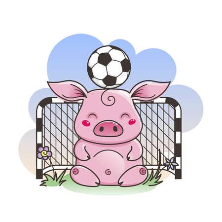 Cute cartoon pig with a soccer ball. Vector illustration. Baby animal art