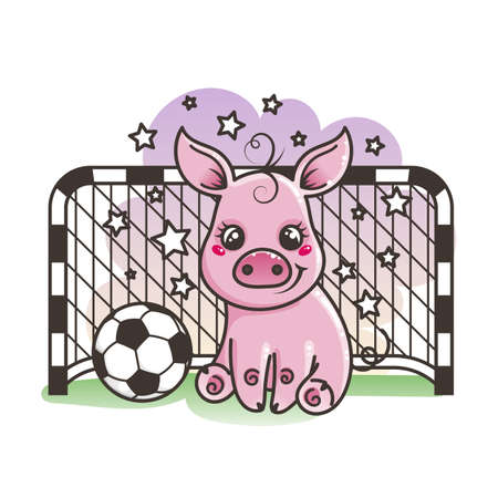 Cute cartoon pig with a soccer ball. Vector illustration. Baby animal art