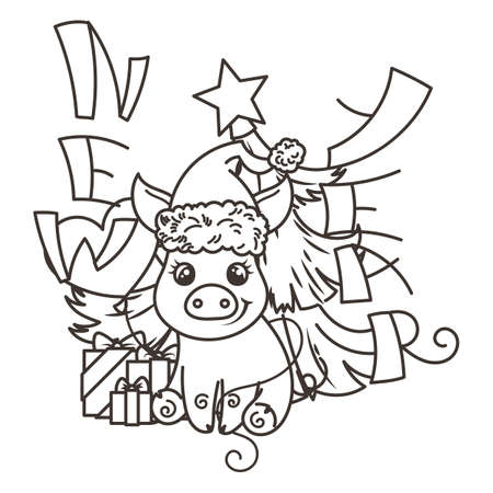 Happy New 2019 Year card with cartoon baby pig in santa hat. Small vector symbol of holiday. Coloring page