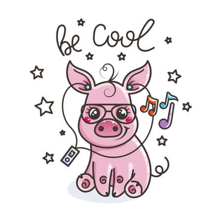 Cute cartoon baby pig in a cool sunglasses with music player. Vector illustration
