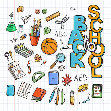 Back to School Supplies collection. Sketchy notebook doodles set with lettering. Vector illustration design elements on lined sketchbook paper