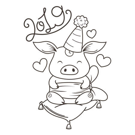 Cute cartoon pig in love. Symbol of New 2019 Year. Chinese horoscope. Coloring page