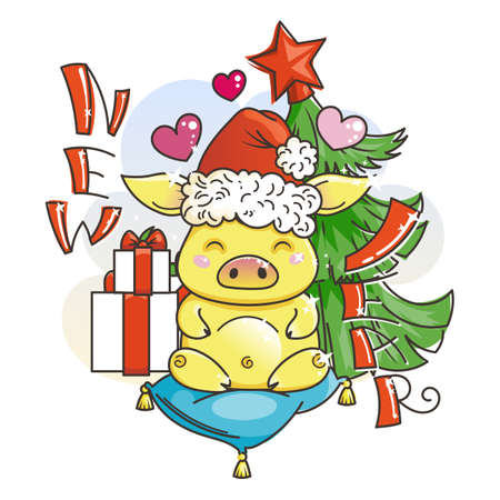 Cute golden cartoon pig in love with holiday tree. Symbol of New 2019 Year. Chinese horoscope Illustration
