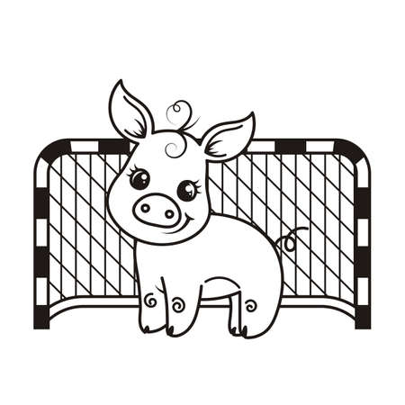Cute cartoon pig with a soccer ball. Vector illustration. Coloring page