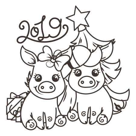 Happy New 2019 Year card with cartoon baby pig. Small vector symbol of holiday. Coloring page Illustration