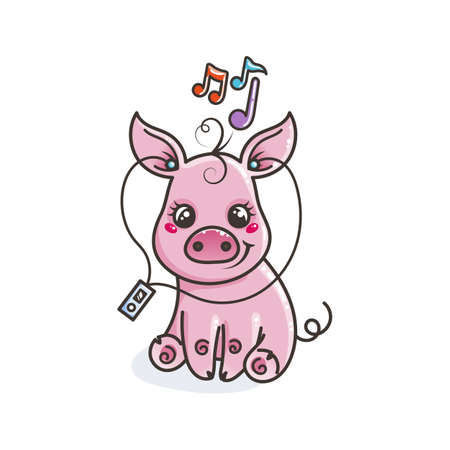 Cute cartoon baby pig with music player. Vector illustration Ilustração
