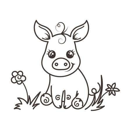 Cute cartoon baby pig. Vector illustration, coloring page Illustration