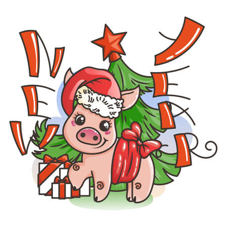 Happy New 2019 Year card with cartoon baby pig. Small vector symbol of holiday in santa hat.