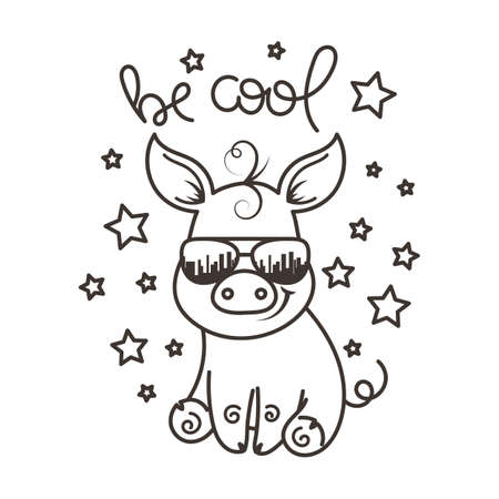 Cute cartoon baby pig in a cool sunglasses. Vector illustration, coloring page