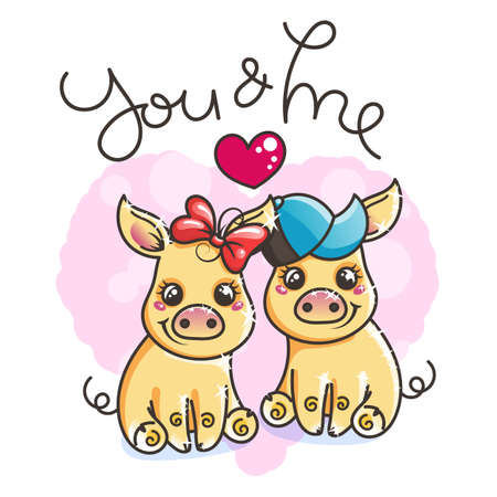 2019 year symbol. Cute cartoon golden baby pigs in love. Vector illustration