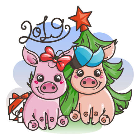 Happy New 2019 Year card with cartoon baby pigs. Small vector symbols of holiday.