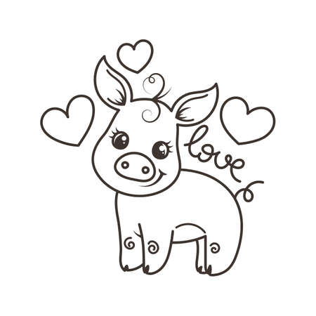 Cute cartoon baby pig. Vector illustration, coloring page 向量圖像