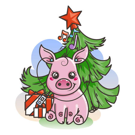 Happy New 2019 Year card with cartoon baby pig. Small vector symbol of holiday with music player.