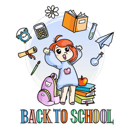 Welcome back to school. Cute school kid ready to education. Vector illustration Illustration