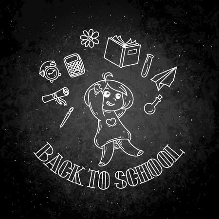 Welcome back to school. Cute school kid ready to education. Vector chalk illustration on a blackboard Illustration