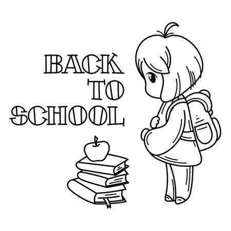 Welcome back to school. Cute school kid ready to education. Vector coloring page