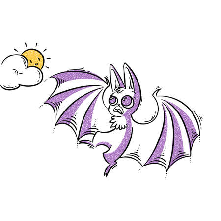 Cartoon bat screeching to the sun. Frightened animal. Vector illustration