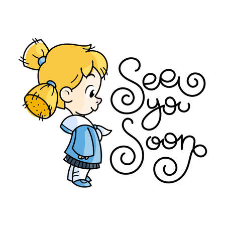 Sea you soon. Cutest kid in sailor suit. Illustration isolated on white background. Design element for print, t-shirt, poster, card, banner. Vector illustration