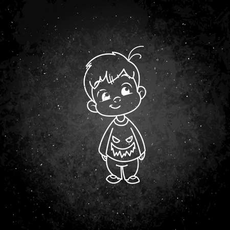 Cutest kid in haloween blouse. Illustration isolated on white background. Design element for print, t-shirt, poster, card, banner. Vector illustration. Chalk on a blackboard