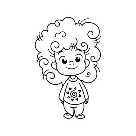 Cutest african kid. Illustration isolated on white background. Design element for print, t-shirt, poster, card, banner. Vector illustration. Coloring page
