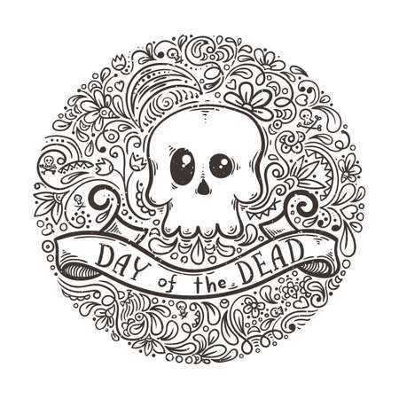 Illustration with the Day of the Dead lettering and skull on pattern background. Vector image.