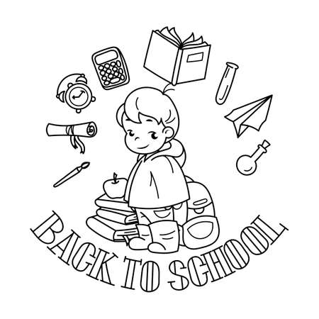Welcome back to school. Cute school kid ready to education. Design element for print, t-shirt, poster, card, banner. Vector illustration. Coloring page
