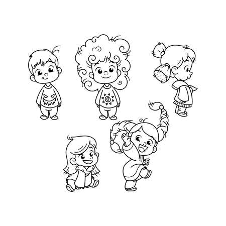 Cutest kids collection. Illustration isolated on white background. Design element for print, t-shirt, poster, card, banner. Vector illustration. Coloring page