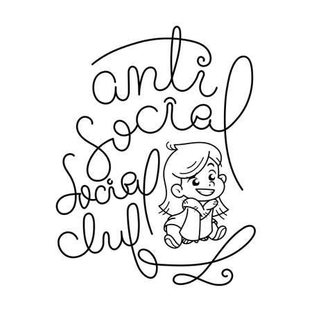 Antisocial social club. Cutest smiling child in a fur coat. Illustration isolated on white background. Design element for print, t-shirt, poster, card, banner. Vector illustration. Coloring page