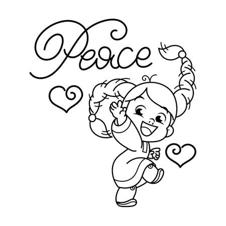 Peace. Cutest cheerful girl in national Slavic dress with embroidery. Illustration isolated on white background. Design element for print, t-shirt, poster, card, banner. Vector illustration. Coloring page