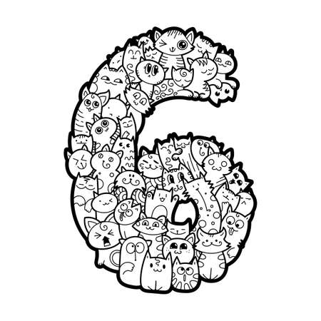 Number Six. Hand drawn doodled kids numbers. Cute monstred numbers, math symbols. Vector illustration for web, design, decoration, education, prints, cards, design. Coloring page