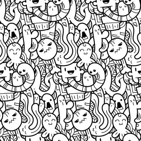 Funny doodle monsters seamless pattern for prints, designs and coloring books. Black and white lined vector illustration