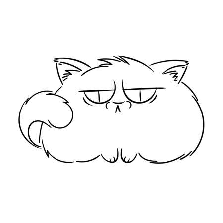 Angry furry cartoon cat. Cute grumpy cat for prints, design, cards, tag. Vector illustration.