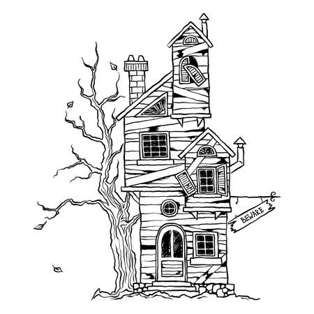 Halloween - scary old farmhouse for cards, design, prints. Hand drawn sketch vector illustration.
