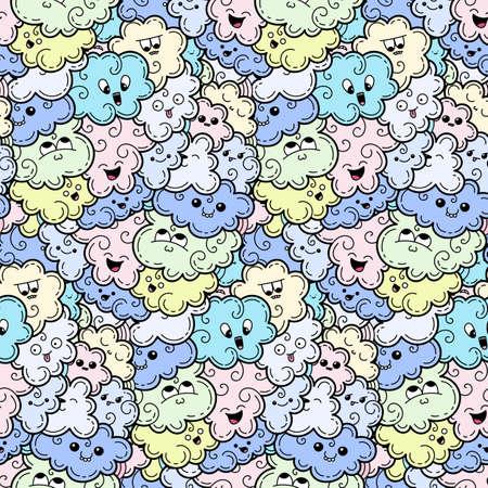 Nahtloses Muster mit lustigen Gekritzelwolken für Drucke, Entwürfe und Malbücher. Vektor kawaii Illustration