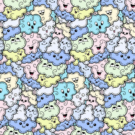 Seamless pattern with funny doodle clouds for prints, designs and coloring books. Vector kawaii illustration