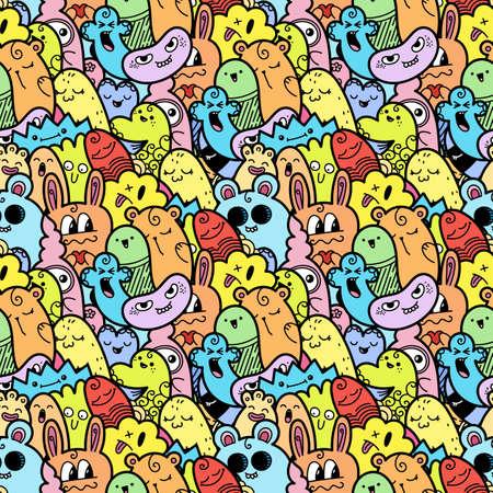 Grappige doodle monsters naadloze patroon voor prints, ontwerpen en kleurboeken. Vector illustratie