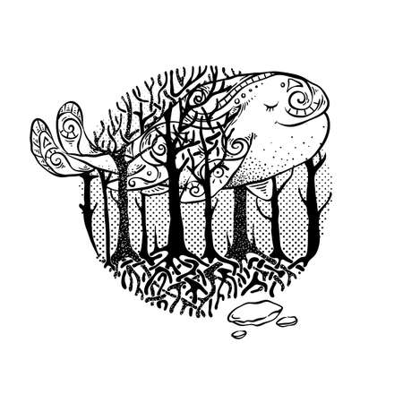 Mysterious vector forest with flying whale. Design for tribal tattoo, design, print, sign, tag, card, t-shirt. Illusztráció